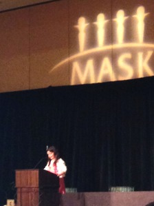 Publisher Kimberly Cabral's daughter (and future power house leader) introduces her mom at the MASK Luncheon.